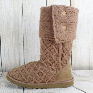 UGG Lattice Tall Cardy 3 Button Sweater Boots Sz 9